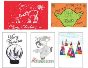 Christmas card designs x 5