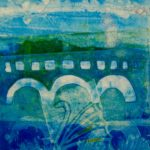 blue green scenary paint art