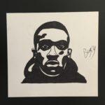 portrain drawing of man in hoodie