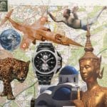 collage with tiger, watch, plane