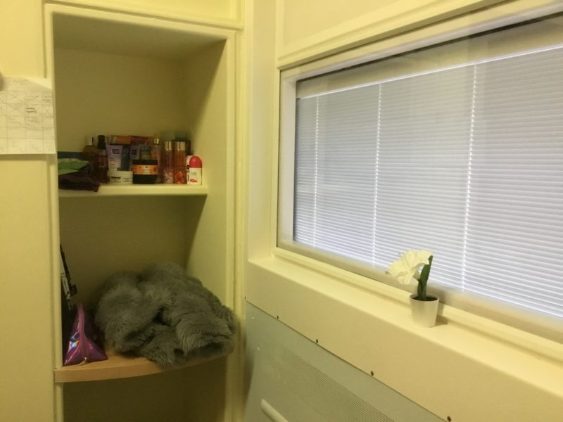 Atkinson bedroom shelving and window